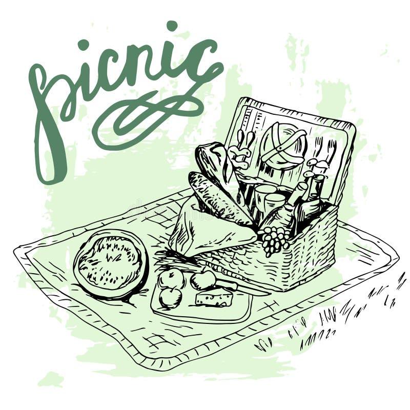 Posto disegnato a mano di picnic con il grande canestro illustrazione vettoriale