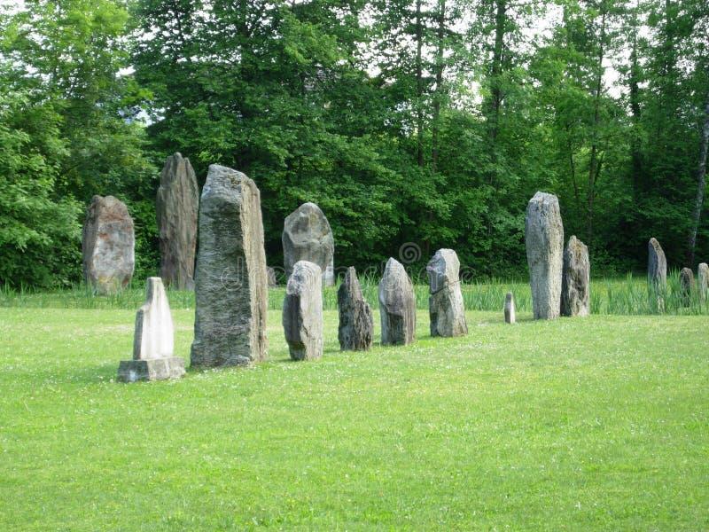 Posto magico nella megalite del celtico della Svizzera fotografia stock
