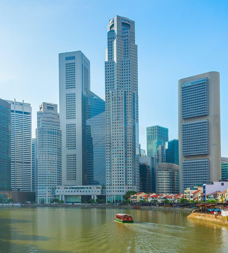 posto moderno di tombole dell'orizzonte di Singapore fotografie stock libere da diritti