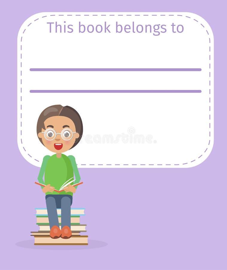 Posto per il nome di proprietario del libro e l'illustrazione del ragazzo royalty illustrazione gratis