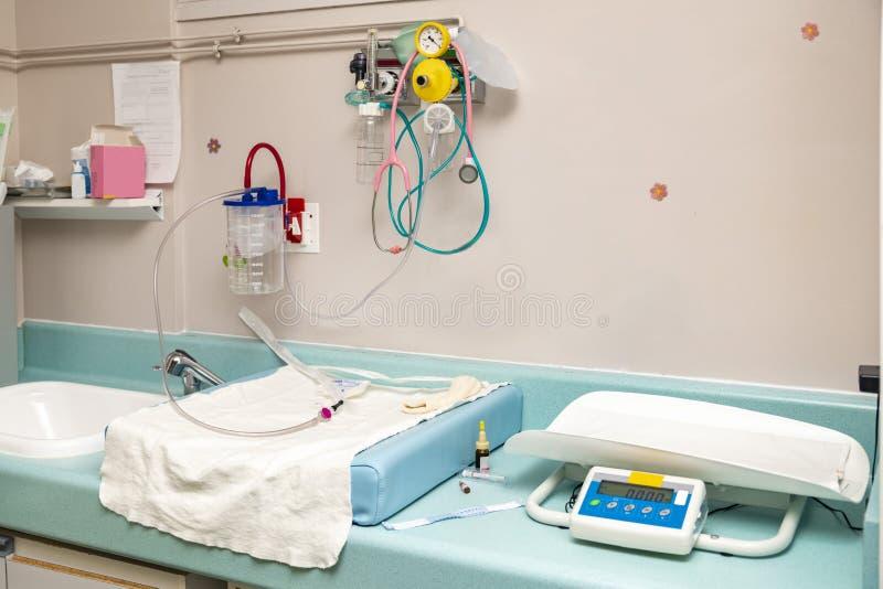 Posto per rianimazione ed esame di un neonato nel parto dell'ospedale immagini stock