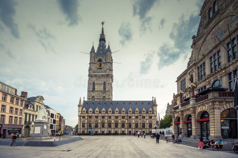Posto scenico del centro urbano del ` s di Gand vecchio - Gand, Belgio immagini stock