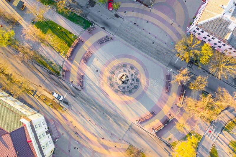 Posto storico del monumento nel centro della vista aerea quadrata Paesaggio di Brest immagini stock libere da diritti