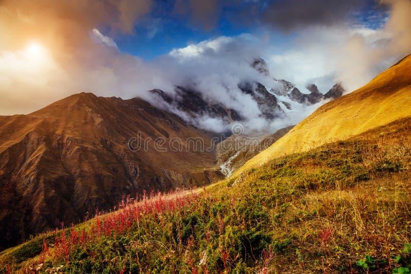 Posto Svaneti superiore, Mestia, Georgia, Europa di posizione Alto Cauc immagini stock libere da diritti