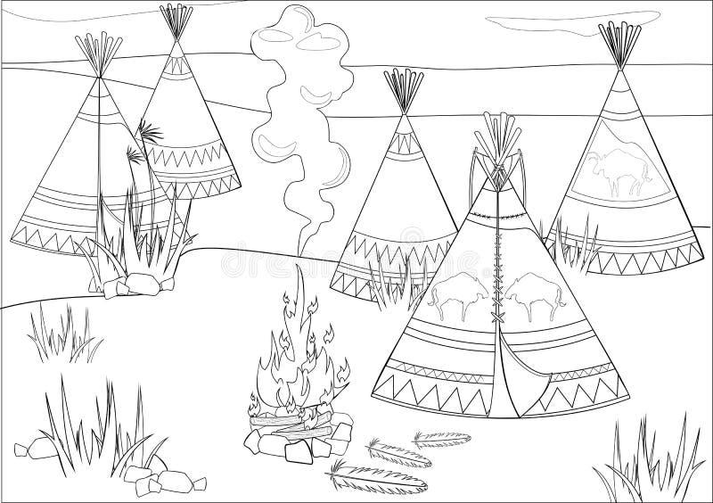 Postojów indianie w prerii ilustracji