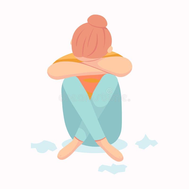 Postpartum депрессия Посленатальная депрессия Син младенца s Иллюстрация eps 10 руки вектора мультфильма вычерченная изолировала  иллюстрация штока