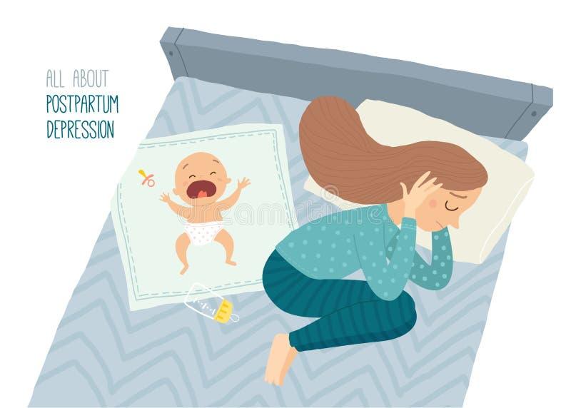postpartum fördjupning Postnatal fördjupning Den deprimerade unga kvinnan som ligger på sängen med en gråt, behandla som ett barn royaltyfri illustrationer