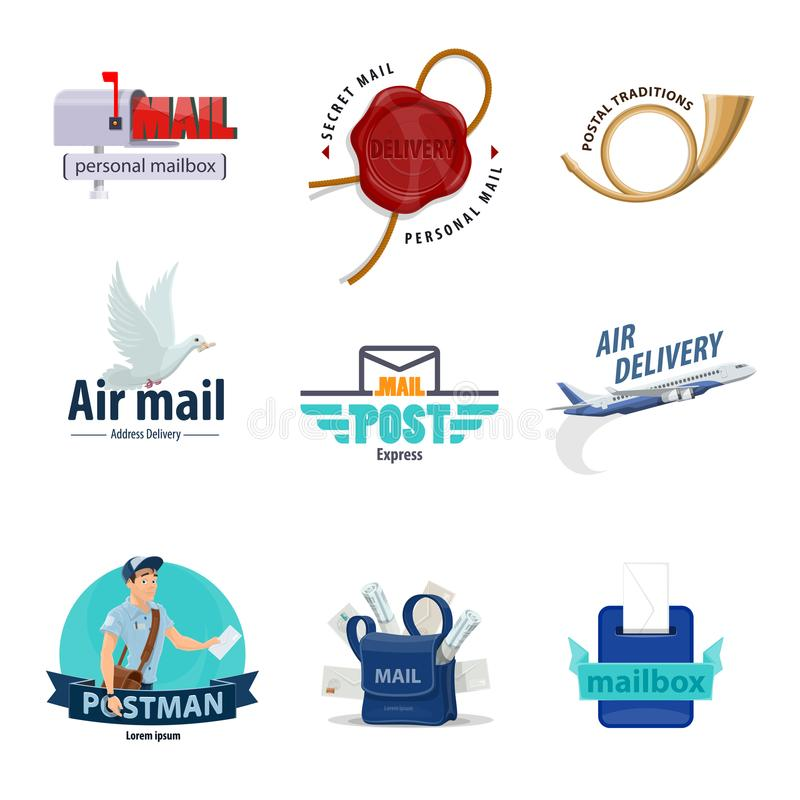 Postpictogram voor post, postbestellingsontwerp royalty-vrije illustratie