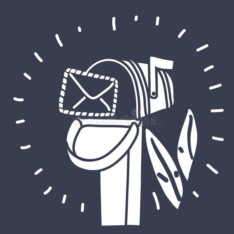 Postpostbox op pool met vector illustratie