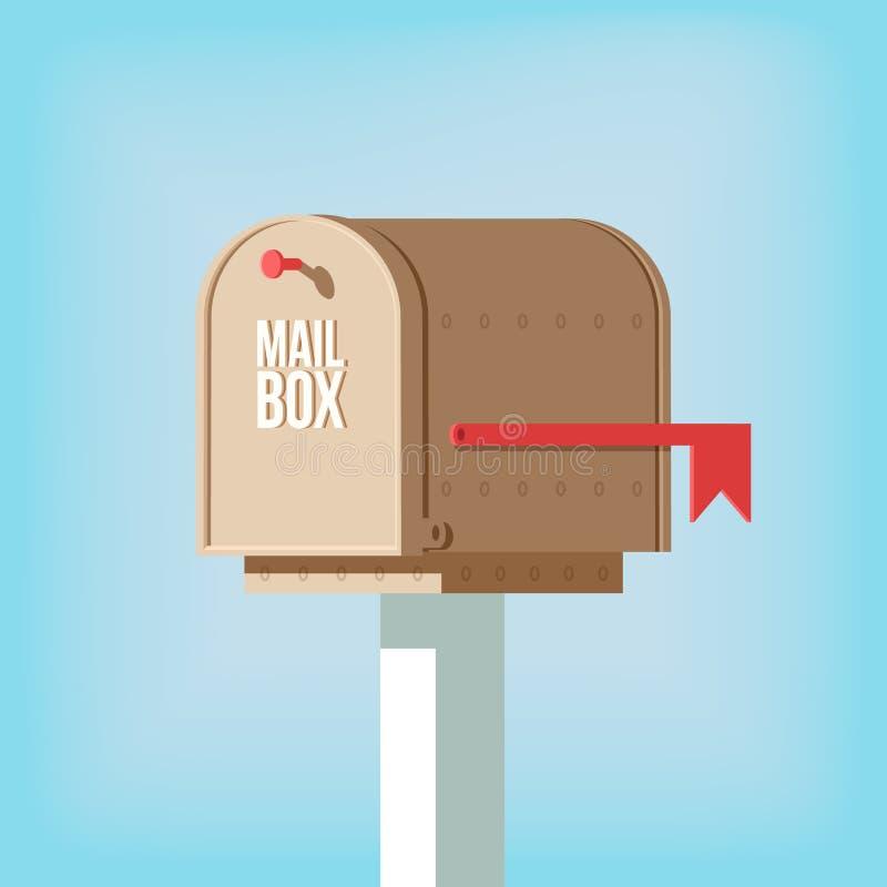 Postpostbox på pol med den röda flaggan stock illustrationer