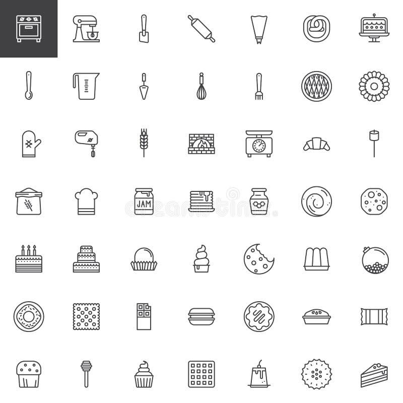 Postre de los dulces y línea iconos de los utensilios de la cocina fijados stock de ilustración