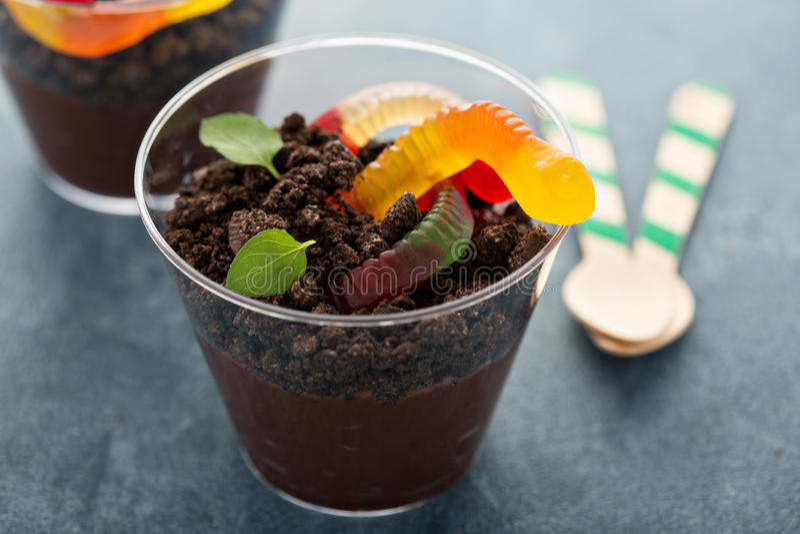 Postre del chocolate de los niños en una suciedad y gusanos de la taza imagenes de archivo
