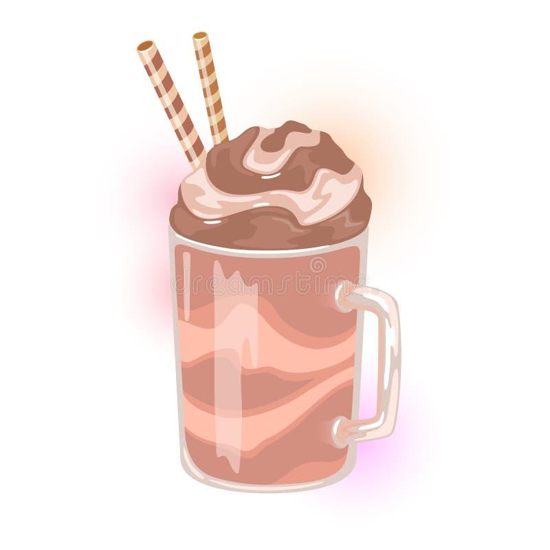 Postre del frappe del café en la taza de cristal con las rebanadas de la paja, del chocolate y de la vainilla stock de ilustración