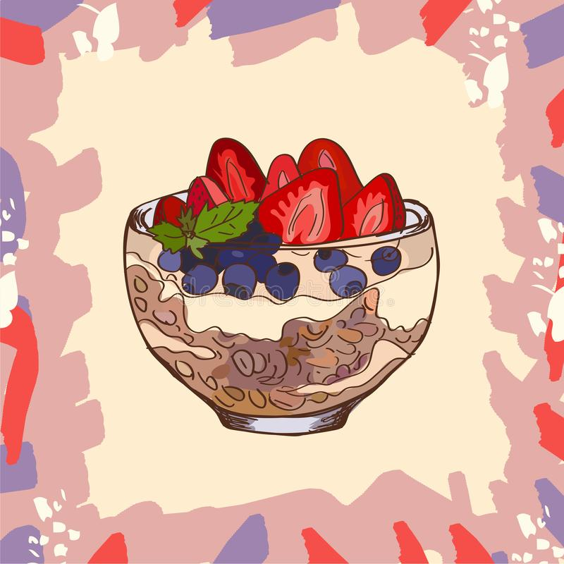 Postre del postre helado con imagen del estilo del bosquejo del granola, del arándano, de la fresa y del yogur Ilustraci?n drenad ilustración del vector