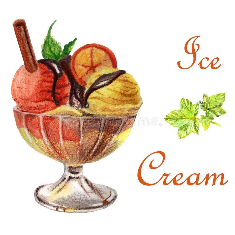 Postre del helado del ejemplo de la comida de la acuarela libre illustration