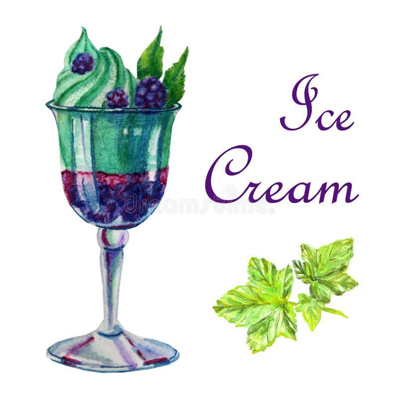 Postre del helado del ejemplo de la comida de la acuarela ilustración del vector