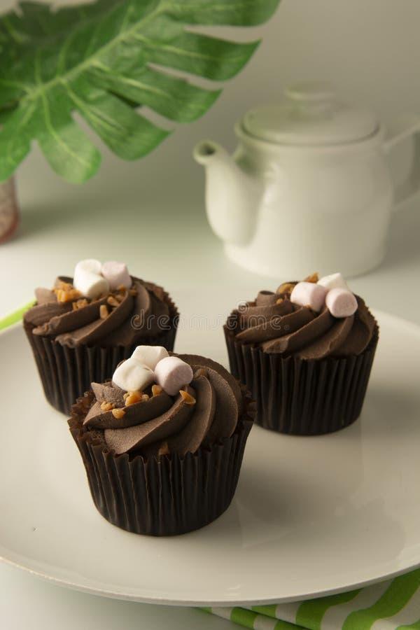 Postre delicioso de la magdalena del chocolate Torta del brownie con crema Postre dulce Hojas del verde de Monstera en fondo foto de archivo libre de regalías