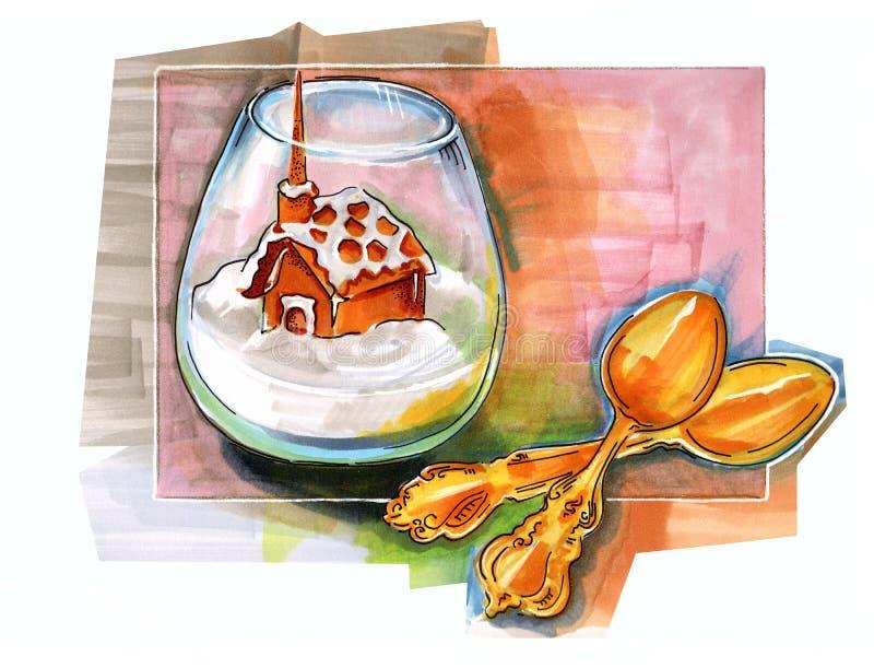 Postre dibujado mano del invierno libre illustration