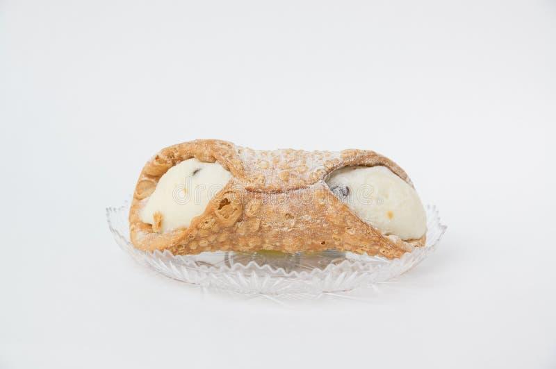 Postre dulce Cannoli de la hornada culinaria italiana siciliano foto de archivo libre de regalías