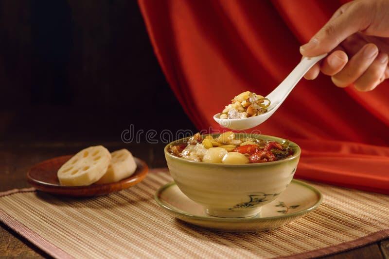 Postre dulce de la sopa de la comida china foto de archivo libre de regalías