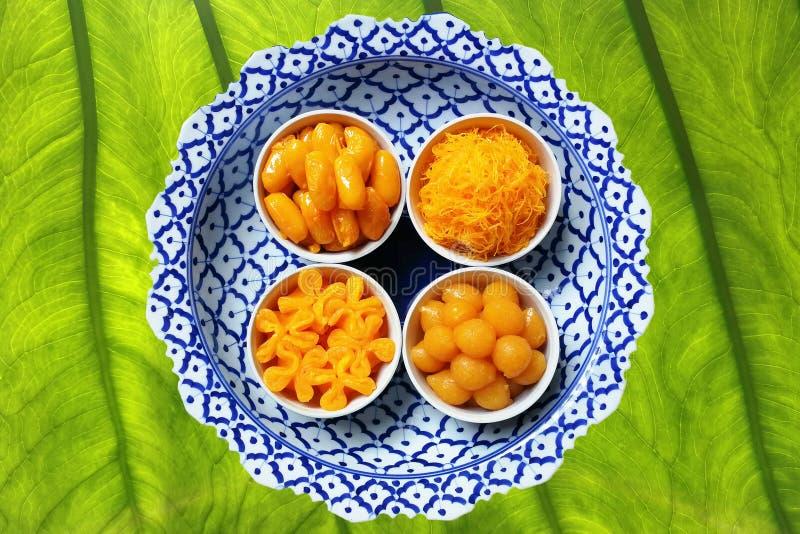 Postre dulce tailandés clasificado hecho del huevo del oro imágenes de archivo libres de regalías