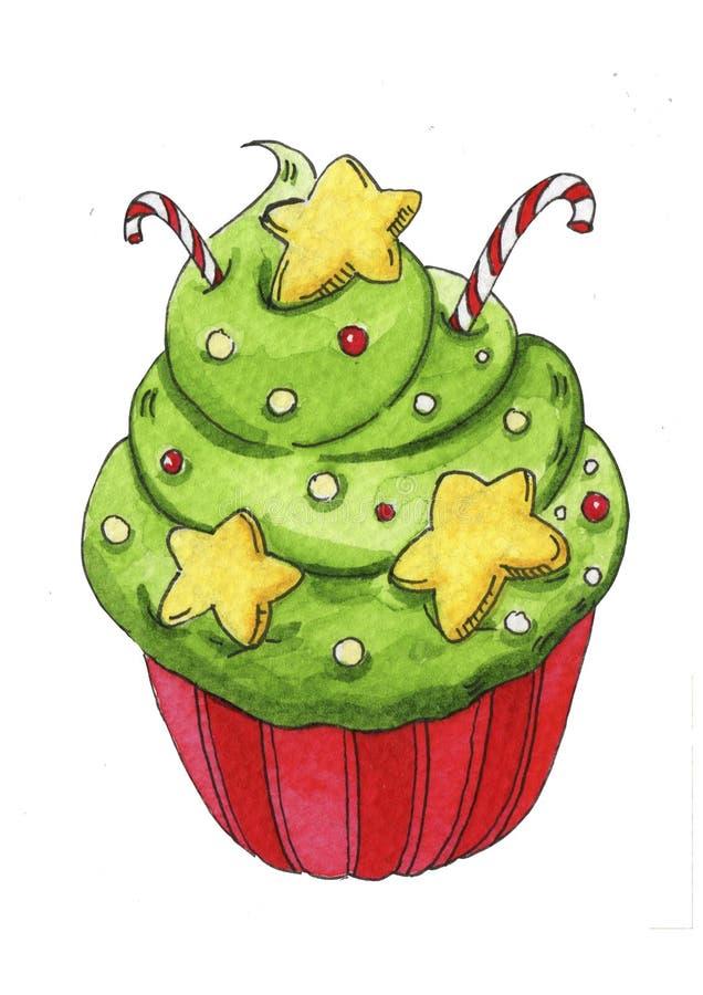 Postre pintado a mano de la acuarela para la Navidad ilustración del vector