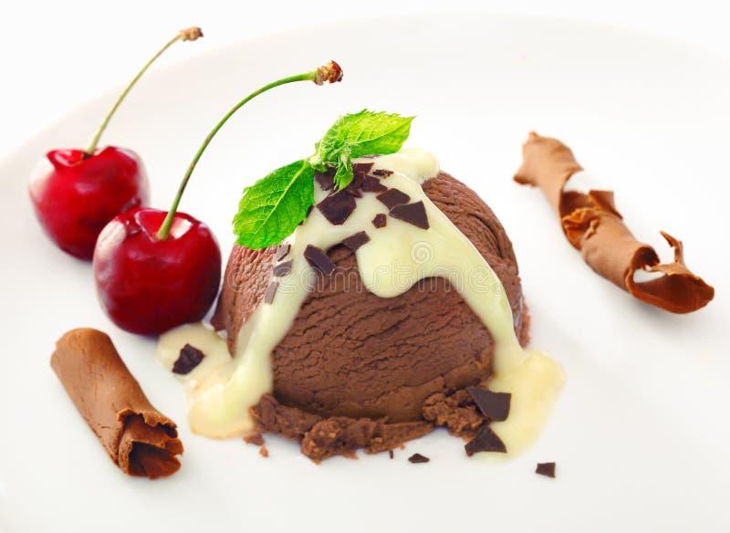Postre rico delicioso del helado del chocolate fotos de archivo libres de regalías
