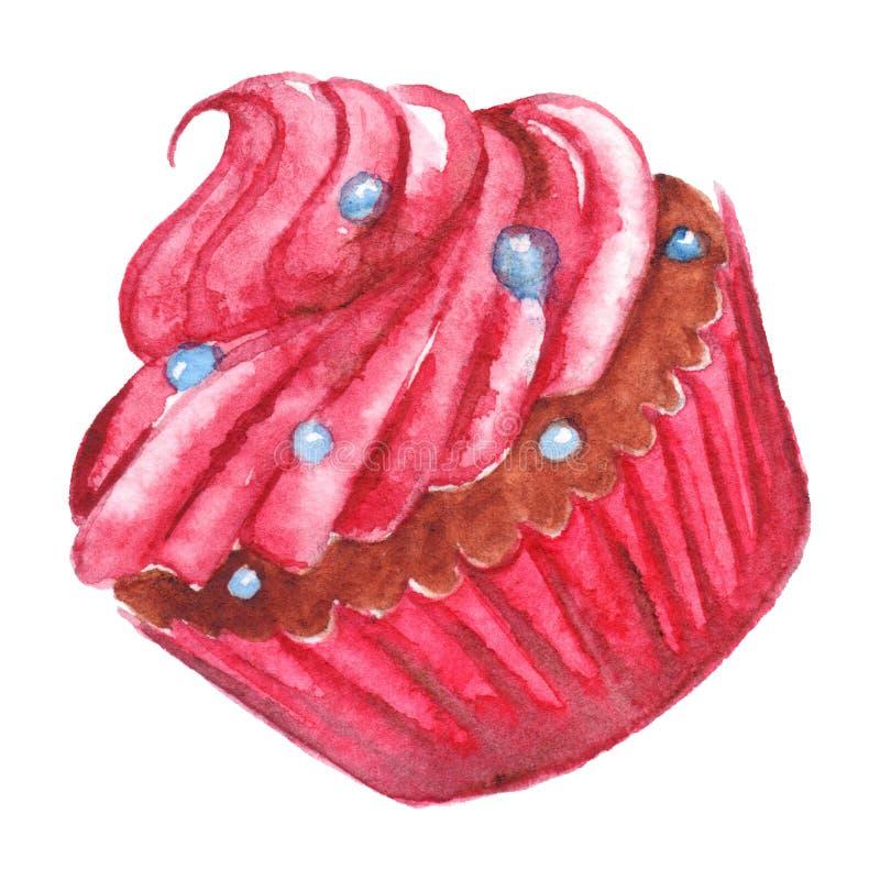 Postre rosado dulce delicioso de la magdalena de la acuarela aislado stock de ilustración