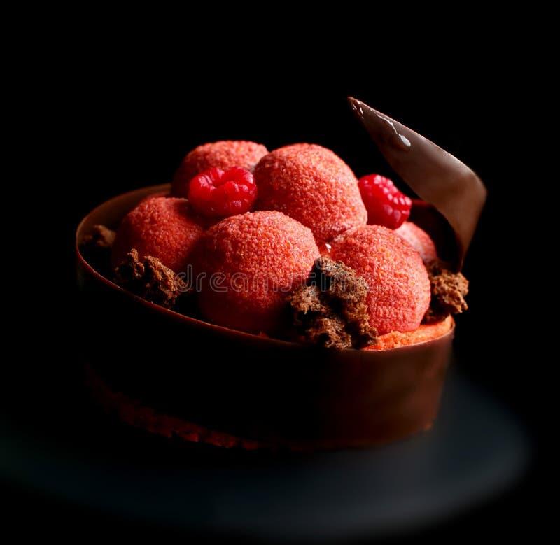 Postre texturizado de la frambuesa roja con las bayas frescas, la esponja de la microonda y la frontera espiral del chocolate imágenes de archivo libres de regalías