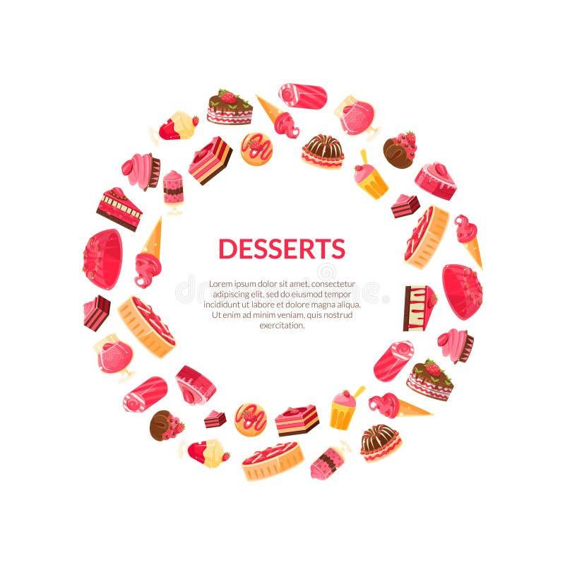 Postres deliciosos alrededor del marco, confitería, ejemplo del vector del elemento del diseño de la tienda del caramelo ilustración del vector