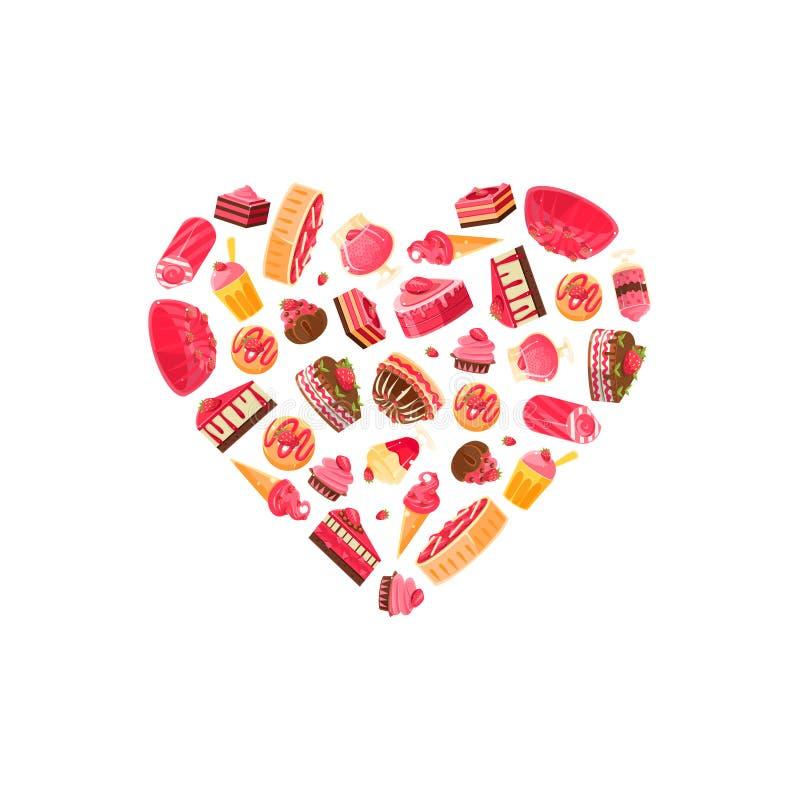 Postres deliciosos en la forma del corazón, confitería, ejemplo del vector del elemento del diseño de la tienda del caramelo libre illustration