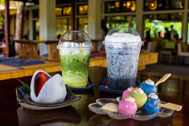 Postres y bebida japoneses en Chiang Mai Tailandia fotos de archivo libres de regalías