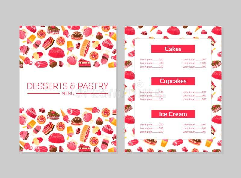 Postres y menú de los pasteles, tortas, magdalenas y helado, panadería, confitería, vector colorido del elemento del diseño de la libre illustration