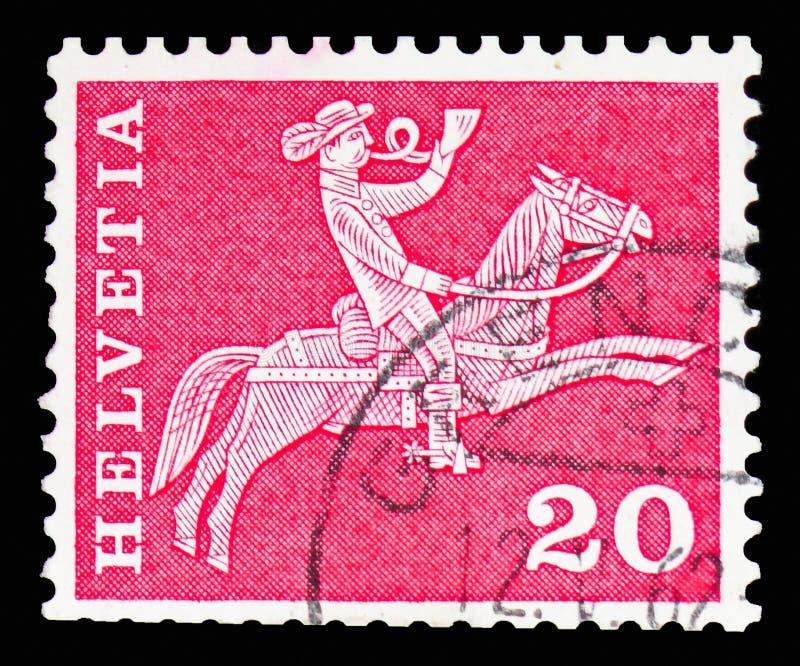 Postrider (19ος αιώνας), ταχυδρομικά κίνητρα ιστορίας και μνημεία serie, circa 1960 στοκ φωτογραφία με δικαίωμα ελεύθερης χρήσης
