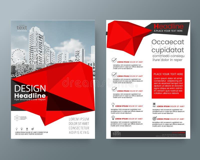 Posts bajos rojos abstractos del aviador de la cubierta del informe anual del folleto del polígono stock de ilustración