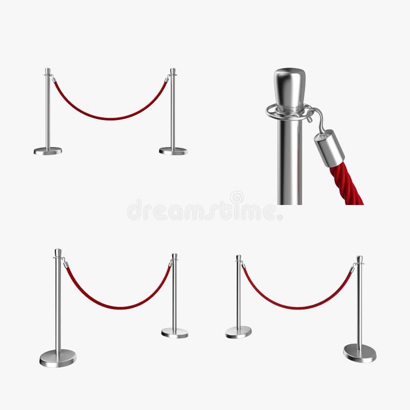 Posts de la barrera y sistema rojo de la cuerda del terciopelo libre illustration