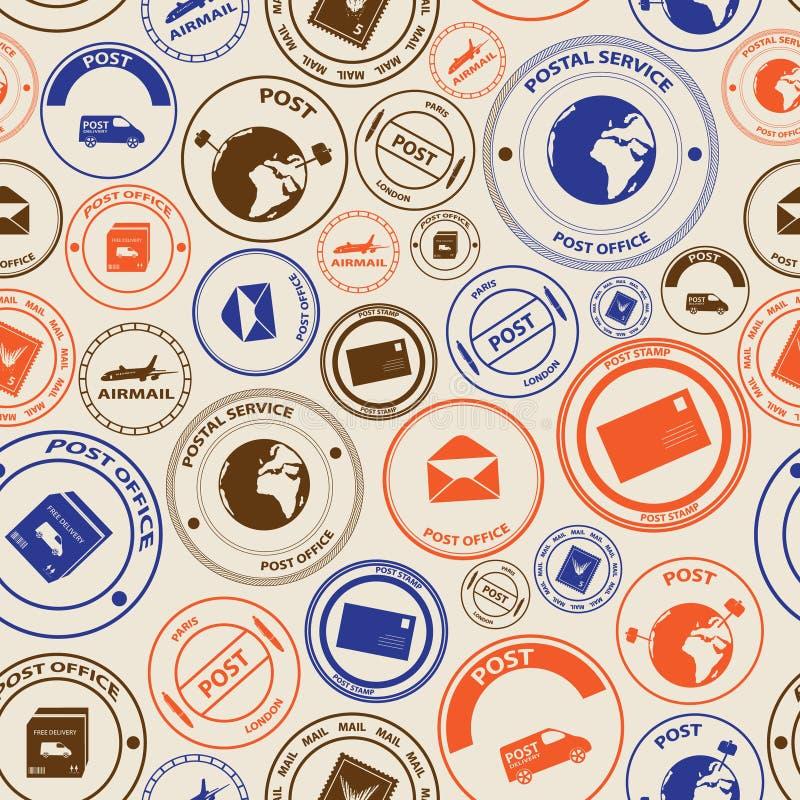 Posts del color y modelo inconsútil de los sellos de correo libre illustration