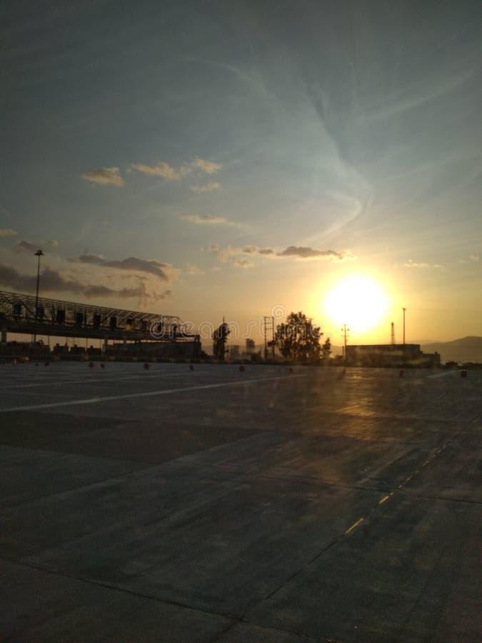 Posts del peaje en la salida del sol imagen de archivo libre de regalías