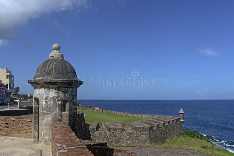 Posts del puesto de observación, bal del ³ de San Cristà del fuerte, San Juan, Puerto Rico imagen de archivo