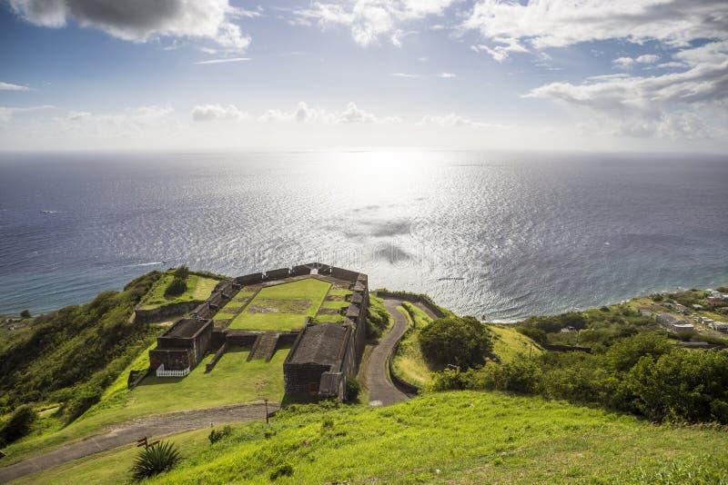 Posts militares en fortaleza del azufre, el santo San Cristobal y Nevis fotos de archivo libres de regalías