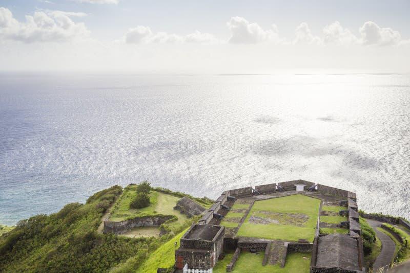 Posts militares en fortaleza del azufre, el santo San Cristobal y Nevis imagen de archivo