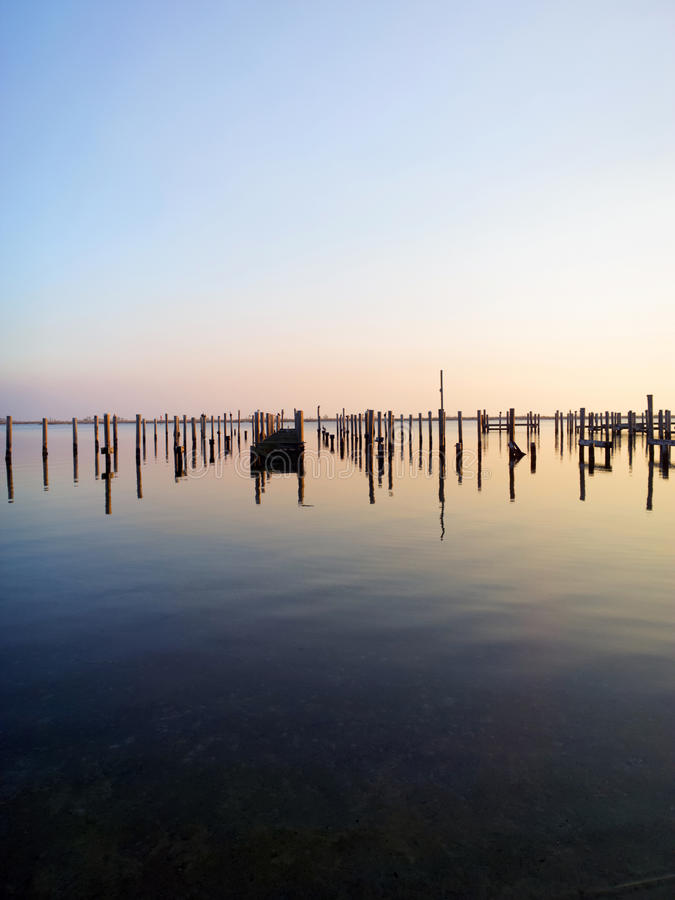 Posts a Plenty. Post from torn up piers due to damage from Hurricane Katrina stock photo