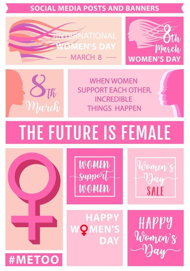Posts sociales del día del ` s de las mujeres medios, sistema del vector libre illustration
