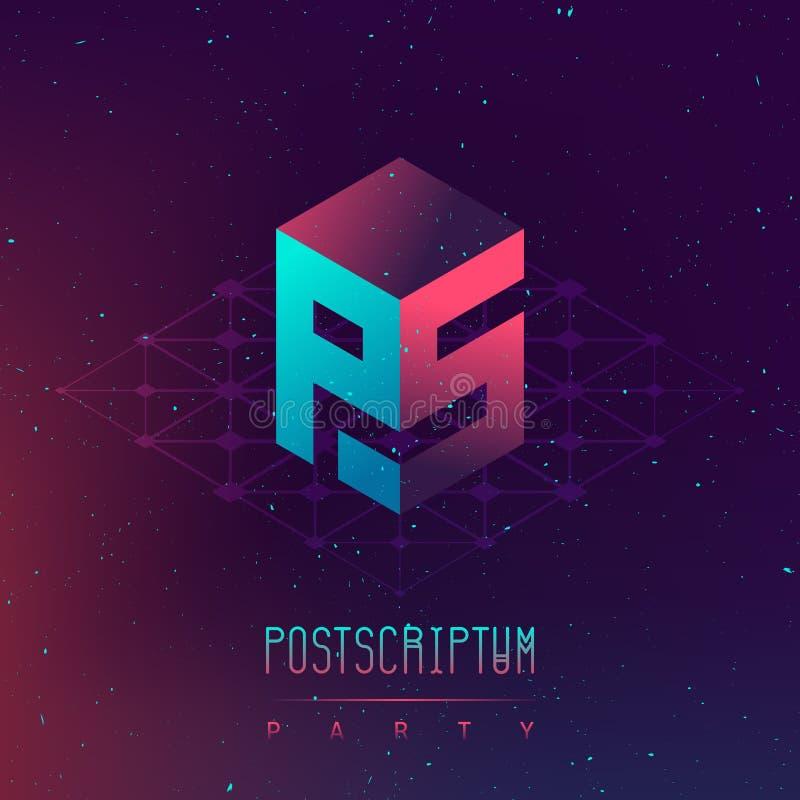 Postscriptum nocy przyjęcie - Elektronicznej muzyki electro i fest zdrój royalty ilustracja