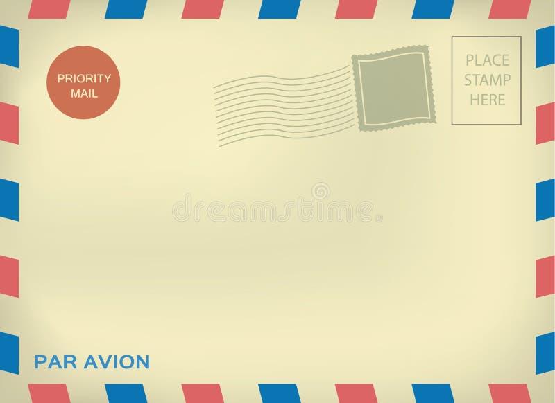 Postsendung enveloper Gleichheit avion auf gealtertem Papier lizenzfreie abbildung
