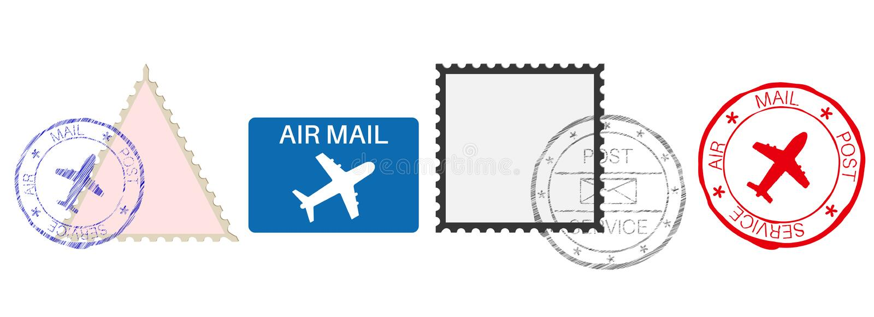 poststempel Farbsatz von Postelementen mit Flugzeug unterzeichnet lizenzfreie abbildung