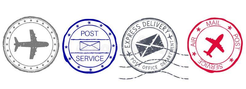 poststempel Farbsatz von Postelementen mit Umschlag- und Flugzeugzeichen vektor abbildung