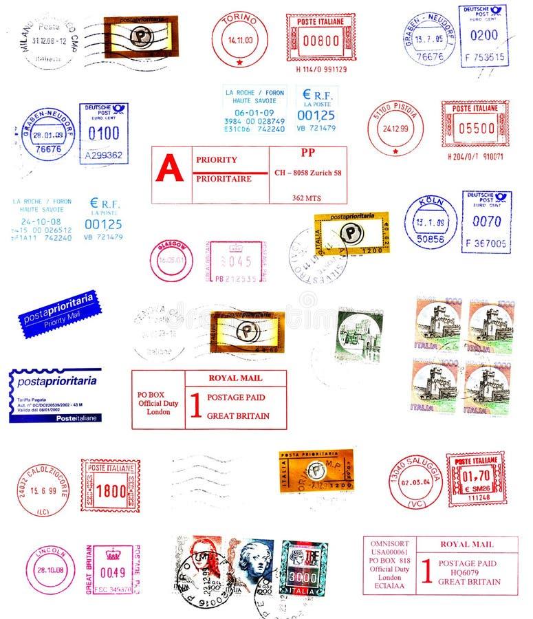 Poststempel, Kennsätze, Pfostenstempel lizenzfreie stockfotos