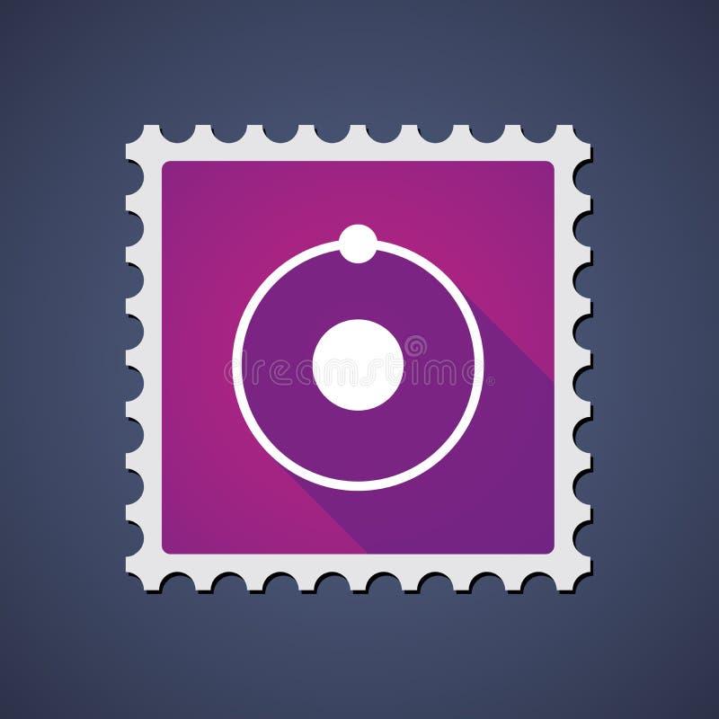 Poststempel mit einem Atom lizenzfreie abbildung