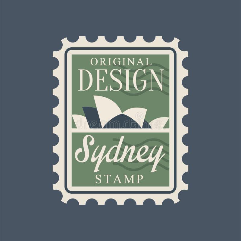 Poststempel mit Sydney-Opernhausschattenbild Abstraktes Symbol mit berühmtem und unterscheidendem Gebäude von Australien lizenzfreie abbildung